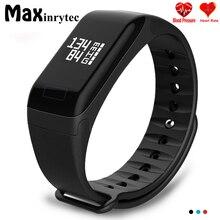 Maxinrytec F1 Rastreador De Fitness Monitor de Freqüência Cardíaca Pulseira Pulseira Inteligente Smartbracelet Pressão Arterial Com Pedômetro Pulseira