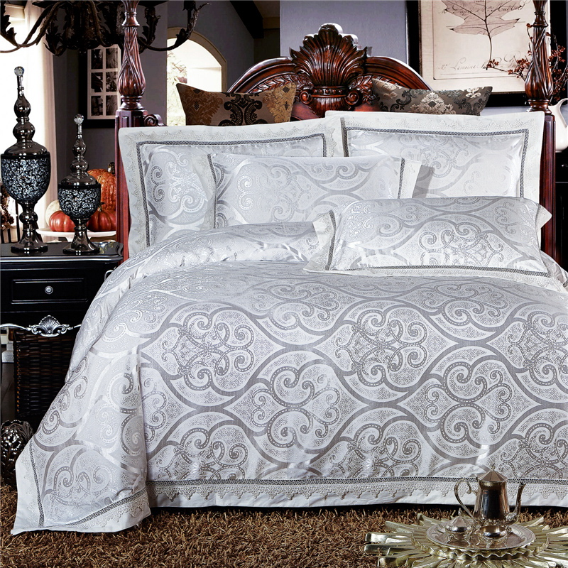High Quality White Modal Cotton Jacquard Bedding Set Lace
