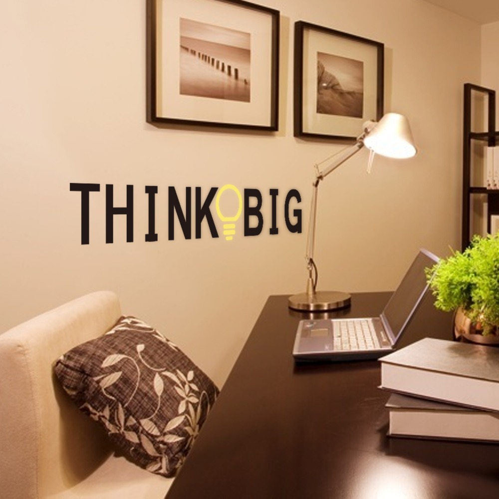 58*12 Brand 2017 PVC Wall Stickers Quotes THINK BIG Decorative Decals for office Decor Wall Sticker Decal Mural Home decoration