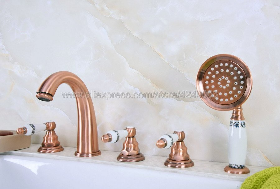 Antique Red Copper Bathroom Roman Tub Faucet Widespread 5pcs Tub Mixer Tap Deck Mounted with Hand Shower Ktf233Antique Red Copper Bathroom Roman Tub Faucet Widespread 5pcs Tub Mixer Tap Deck Mounted with Hand Shower Ktf233