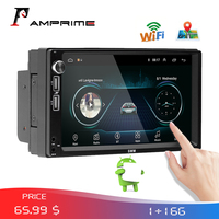 AMPrime 2Din Android Autoradio 7 Bluetooth Car Multimedia GPS Stereo Audio Radio MirrorLink Wifi FM USB Rear Camera MP5 Player
