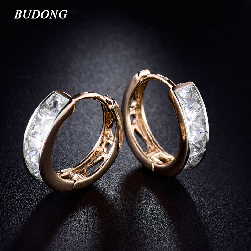 BUDONG Fashion Small Hoop Earing Silver Gold Color Earring font b Crystal b font Princess CZ