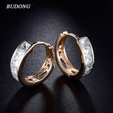 BUDONG Fashion Small Hoop Earing  Silver/Gold Color Earring Crystal Princess CZ Zircon Pave Wedding Jewelry For Women E143