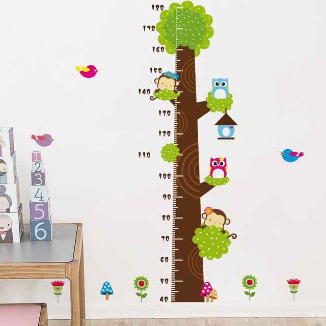 Cartoon Animals Height Measure Wall Stickers Children Growth Chart
