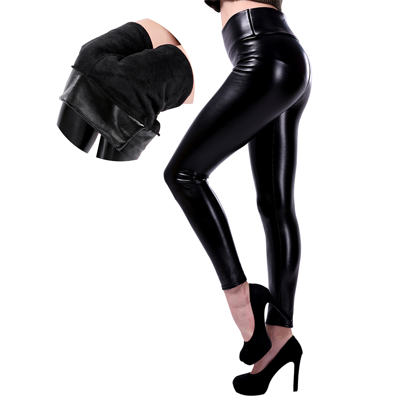 SALSPOR XS-5XL Winter Plus Size Leather Leggings Women Pants High Waist High Elastic Warm And Close Thick Velvet Leggings Female