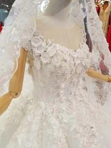 Image 5 - LS860540 שנהב קצר שרוול חתונה שמלת o צוואר נפוח הכלה שמלת סין מפעל סיטונאי ארוך 3d פרחי צעיף vestido coctel