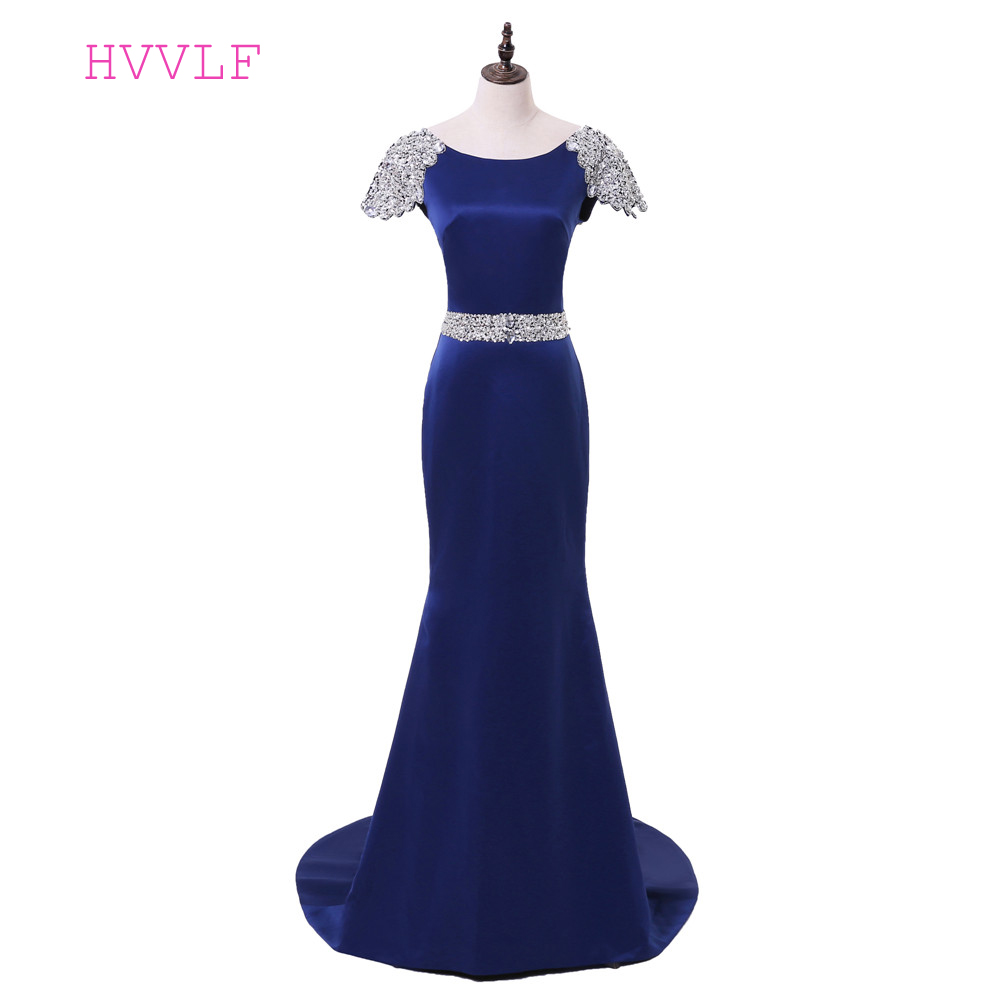Royal Blue Evening Dresses 2018 Mermaid Cap Sleeves Beaded Crystals Backless Women Long Evening Gown Prom Dress Robe De Soiree