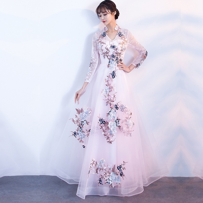 aa833e1cbfe It s YiiYa Fashion Embroidery Prom Gowns Elegant Long Sleeve V-neck  Printing A-line