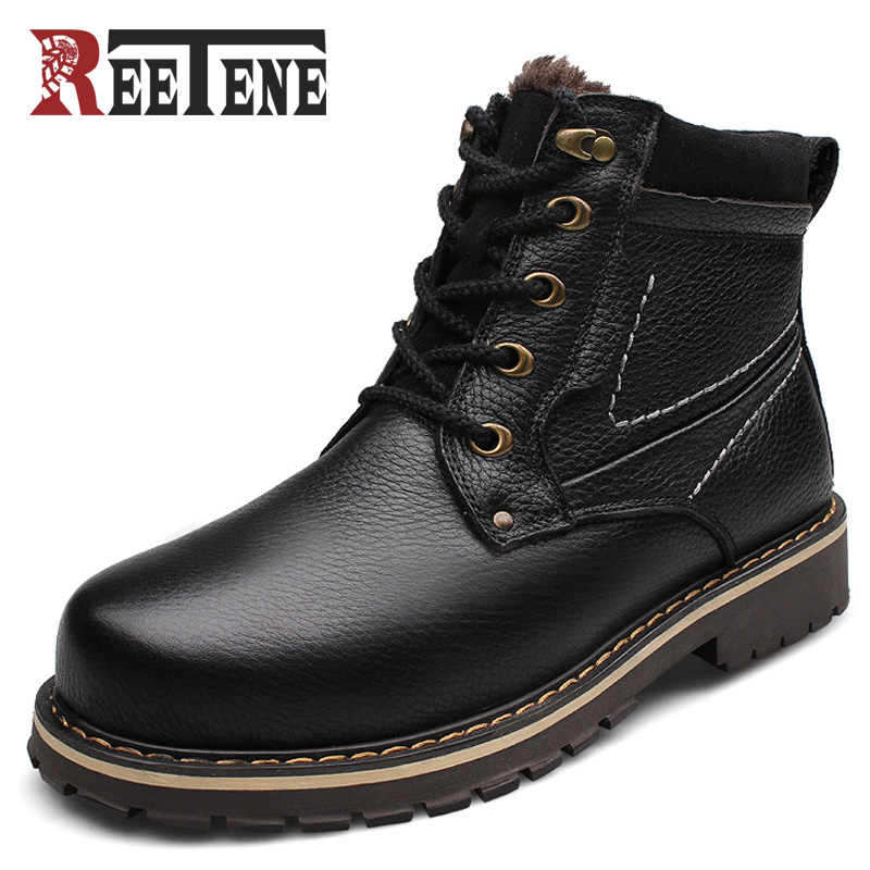 Reetene Nieuwe Mode Echt Leer Mannen Enkellaars Warme Winter Sneeuw Warm mannen Boot Lace Up Pluche Mannen Schoenen plus Size 39-50
