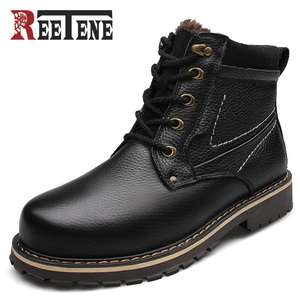 Image 1 - REETENE New Fashion Genuine Leather Men Ankle Boots Warm Winter Snow Warm Mens Boot Lace Up Plush Men Shoes Plus Size 39 50