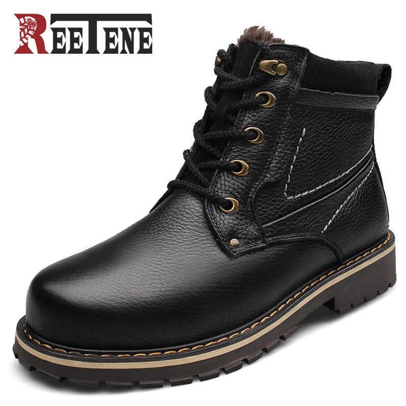Reetene Yeni Moda Hakiki Deri Erkek yarım çizmeler Sıcak Kış Kar Sıcak erkek Çizme Dantel Up Peluş erkek ayakkabısı Artı Boyutu 39-50