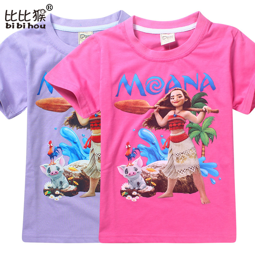 Summer Toddler Girl Print T Shirt Moana Kids Clothes