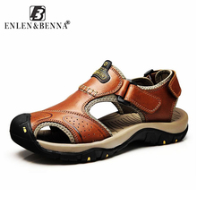 Купить с кэшбэком Brand Protect Outdoor Casual Driving Beach Men Sandals Quality Summer Genuine Leather Soft Sole Men Shoes Plus Size 46 Sandales