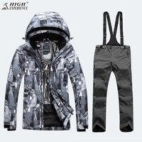 Камуфляжная куртка зимняя мужская куртка брюки лыжный костюм мужские комплекты для сноуборда Мужской Горный Сноуборд костюм мужской зимни
