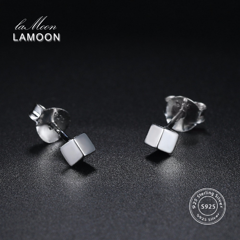 LAMOON Fine Jewelry Cube Stud Earrings For Women 100% 925 Sterling Silver Bridal Wedding Cute Girl Party Gift Accessories EY154
