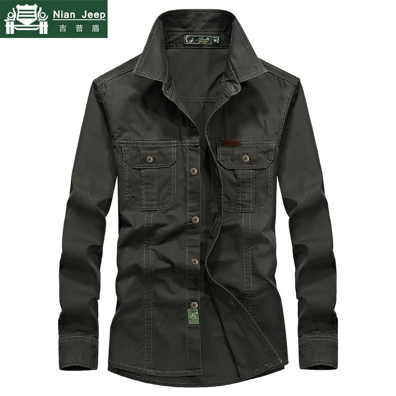 AFS JEEP Plus Size 6XL Shirt Men 100% Cotton Military Men Shirt Spring Solid Casual Breathable Long Sleeve Camisa Masculina