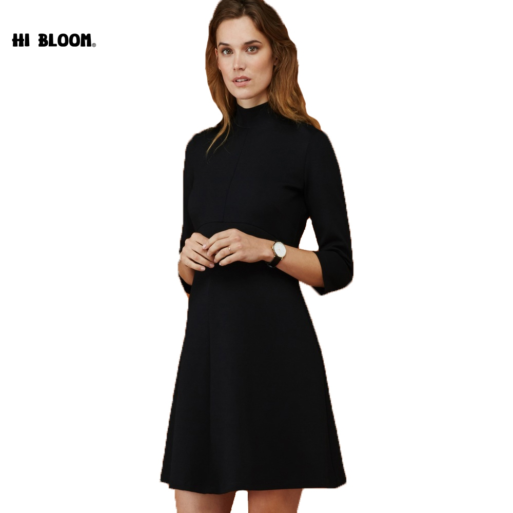 Winter Turtleneck Long Sleeve Dress for Pregnant Women Maternity Dresses Elegant Black Office Lady Maternity Clothes Plus Size chic scoop collar long sleeve hit color plus size dress for women