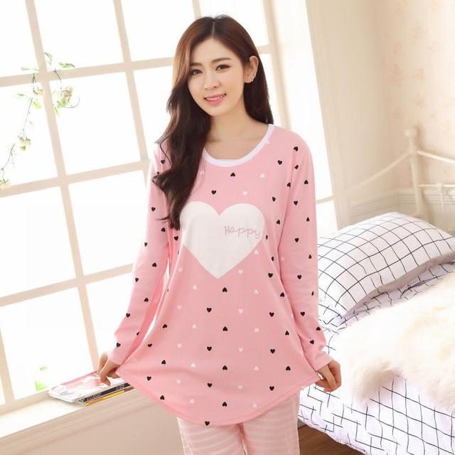 Pijama feminino 2016 Outono Inverno Bonito Knited Amante Do Coração Do Algodão Casual Pijamas Pijamas Pijamas Pijama Para Mulheres Tamanho M-XXL