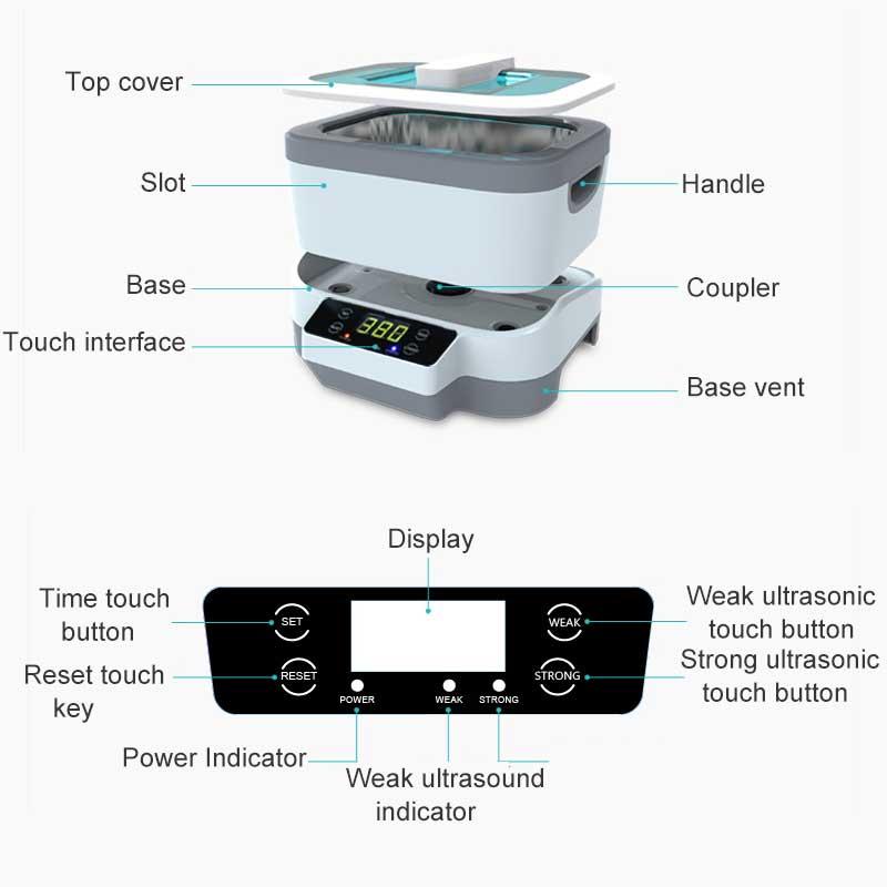 1200 ml Digitale Ultrasone Reiniger 60 w Split Ultrasone Reiniging Machine Professionele Reiniger Sieraden Horloges Wassen Apparatuur - 2