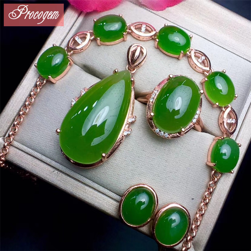 Natural Green Jasper jewelry sets Necklace Ring Earrings Bracelet 925 Sterling silver Female Luxurious Jewelry set wholesale #65