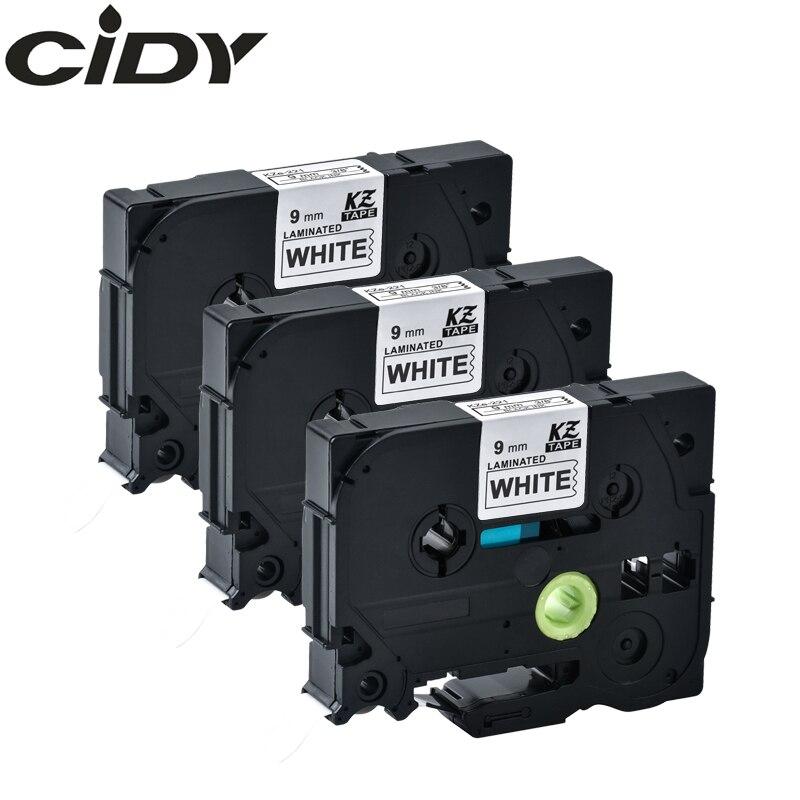 CIDY 3pcs Tze221 TZE 221 Black On White Compatible 9mm P Touch Laminated Tape Tz221 Tz-221 Label Tape