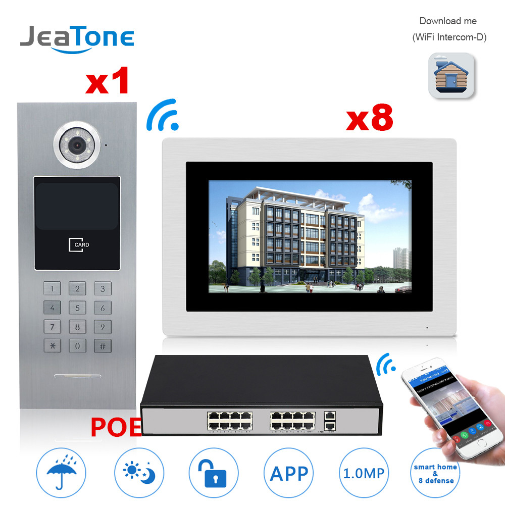 7'' Touch Screen WIFI IP Video Door Phone Intercom +POE Switch 8 Floors Building Access Control System Support Password/IC Card