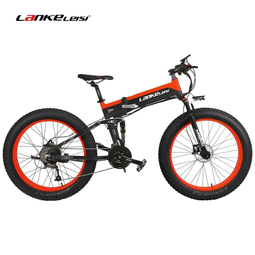 T750Plus 1000 W VTT électrique 27 vitesses vélo de neige pliant Ebike Citybike Roadbike 5 PAS Suspension complète 26 ''4.0 gros pneu
