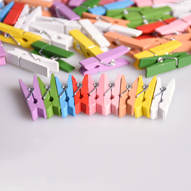 50pcs Lot Colorful Spring Wood Clips Mimi Photo Paper Postcard Placed Diy Craft School
