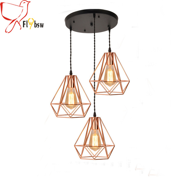 Modern rose gold birdcage pendant lights 3 heads plating for Suspension luminaire cage