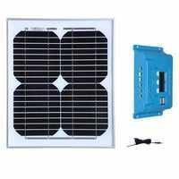 Panel fotografico 12 v 10 w controlador de carga Solar 12 v/24 v 10A cargador de batería Solar barco marino campamento de caravana de yates