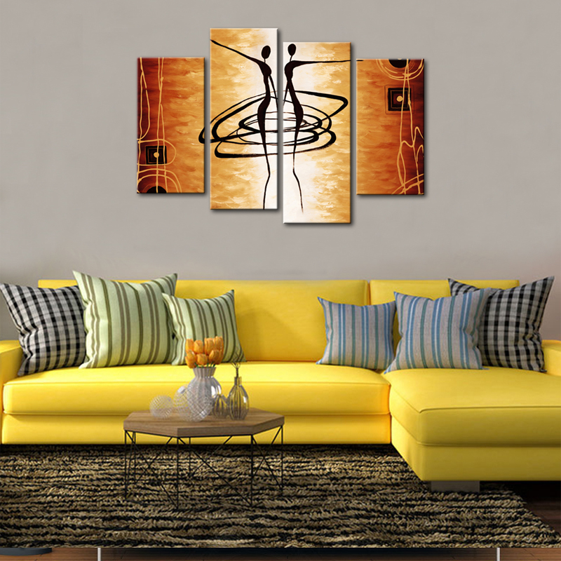 4 Pieces Abstract Dancer Paintings Abstract Art Print on Canvas Wall ...
