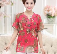 New Summer Plus Size Floral Printed Elegant Women S Short Sleeve Chiffon Blouse Shirts