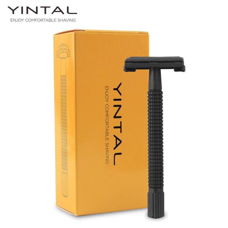 YINTAL Brass Matte Black Steel Coating Safety Razor Long Handle Butterfly Open Classic Safety Razor Men Shaving Shaver 5 blades