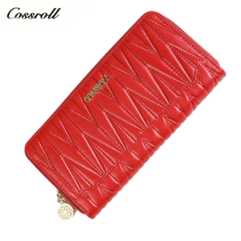 Luxury Brand Real Genuine Leather Wallet Women Clutch Wallets England Style Vintage Long Design Zipper Purses Female Coin Purse