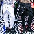 Niños adultos remache asimetría pantalón otoño disfraces panelled patchwork mens delgados pantalones lápiz harem hip hop danza pantalones