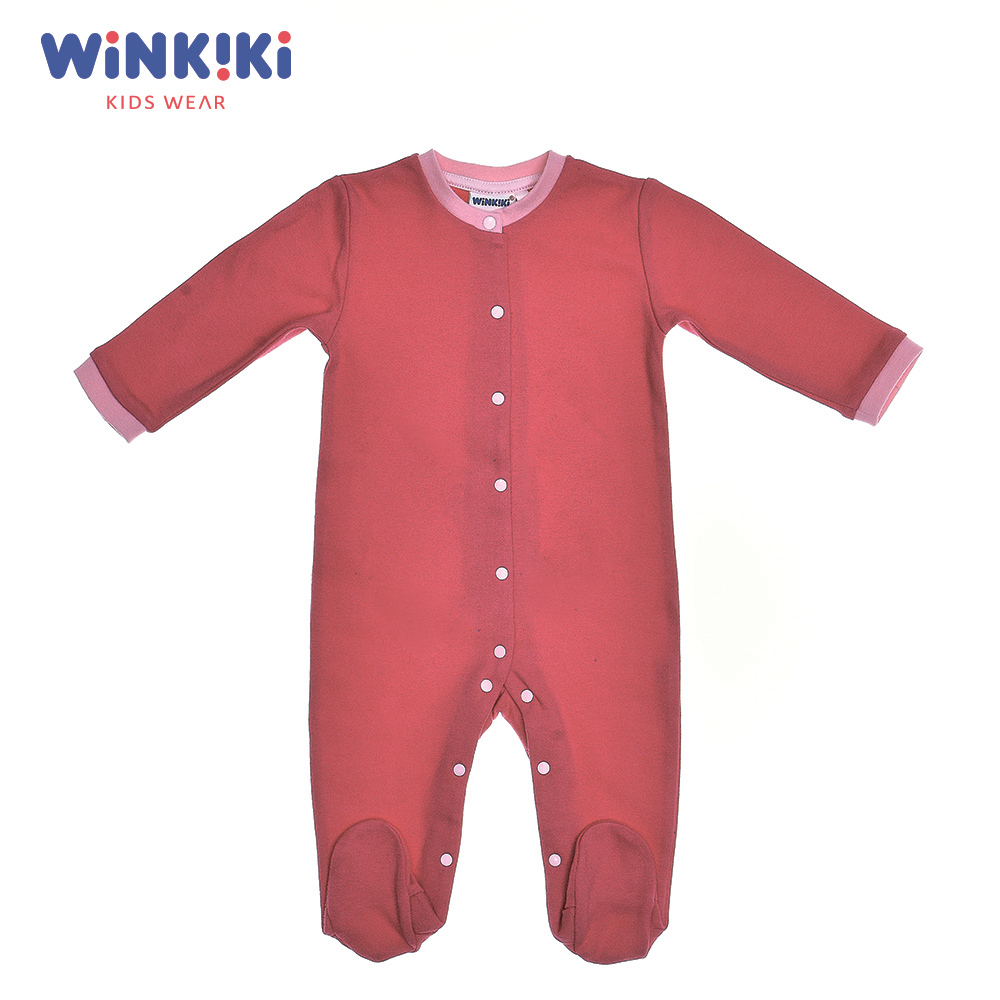 Bodysuits Winkiki WN91302 Baby Clothing One-Pieces Cotton Pink Baby Girls Active shein pink toddler girls v neck frill trim solid ruffle cute jumpsuit 2019 summer cap sleeve long newborn baby clothing