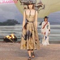 LUKAXSIKAX 2018 Summer High Quality Graffiti Print Luxury Designer Runway Dress Elegant Big Hem Spaghetti Strap Sexy Long Dress