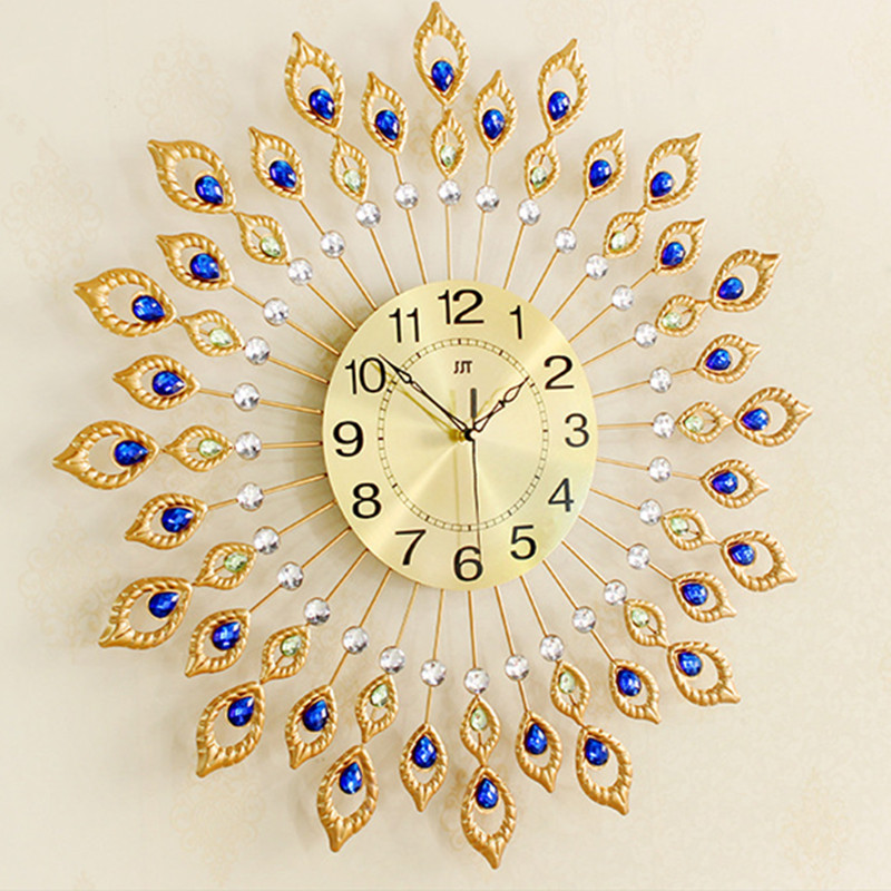 Golden Peacock Wall Clock Decoration Creative Fashion Pendant Meeting Room Living Quiet Modern Personality In Clocks From Home