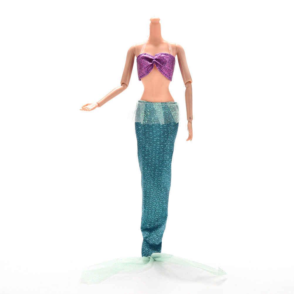 2 шт./компл. модные вечерние костюмы ручной работы платья для принцессы в стиле Ариель для Барби Куклы-русалки с хвостом