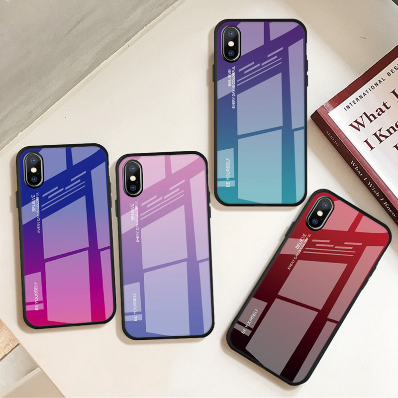 Brand new glass phone case for iphone 7 8 6 6s cover iphoneX XR Xs max Gradient back coque funda