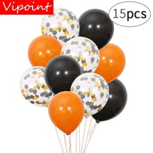VIPOINT PARTY 15pcs 12inch black paper scraps latex balloons wedding event christmas halloween festival birthday party HY-350