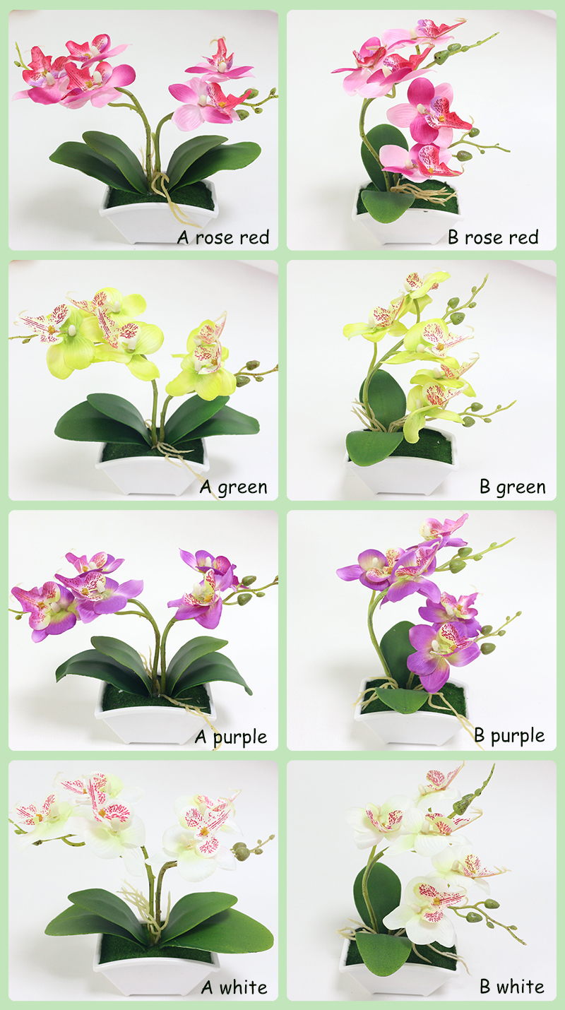 small artificial butterfly orchid flower set with real touch leaves artificial plants overall floral for wedding (111)