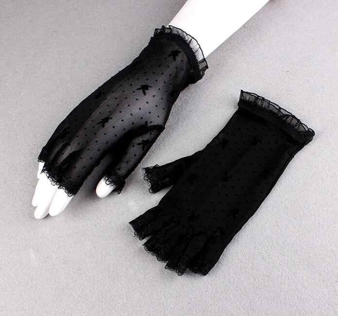 ผู้หญิงฤดูร้อน fingerless ครีมกันแดดสีดำตาข่ายถุงมือหญิง Uv ป้องกัน breathable เซ็กซี่มุมมองลูกไม้ขับรถถุงมือ R1133