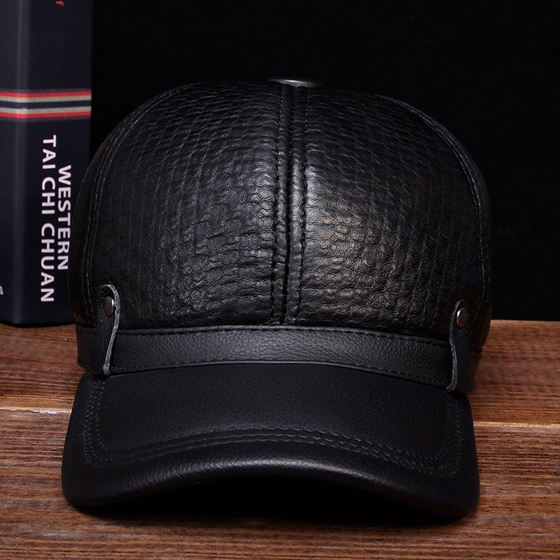 HL070 Aorice winter warm Russian real leather black caps men's hats