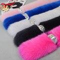 Mulheres de inverno lenços de pescoço quente gola de pele lenço da pele verdadeira pele de raposa xale nova marca de Acessórios de Moda de peles L #63