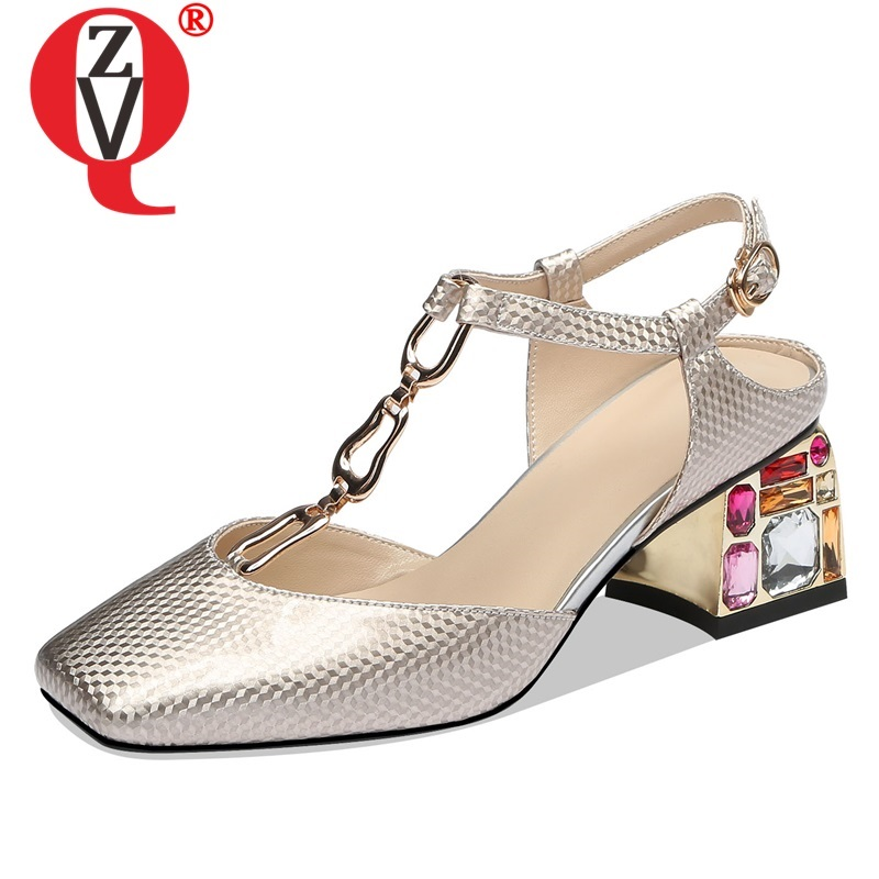ZVQ shoes woman summer new fahsion sexy square toe woman sandals outside high hoof heels buckle metal decoration crystal shoesZVQ shoes woman summer new fahsion sexy square toe woman sandals outside high hoof heels buckle metal decoration crystal shoes