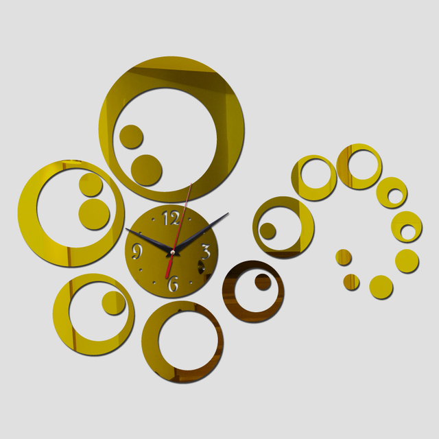 2016 new sale clock watch wall clocks horloge 3d diy acrylic mirror stickers home decor modern quartz needle free shipping