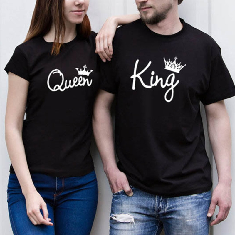 037da7eb35 Skuggnas King Queen T Shirt Imperial Crown Print Funny Graphic Couple Tee  Shirts Women Men O Neck Summer Hispter Tumblr Tops