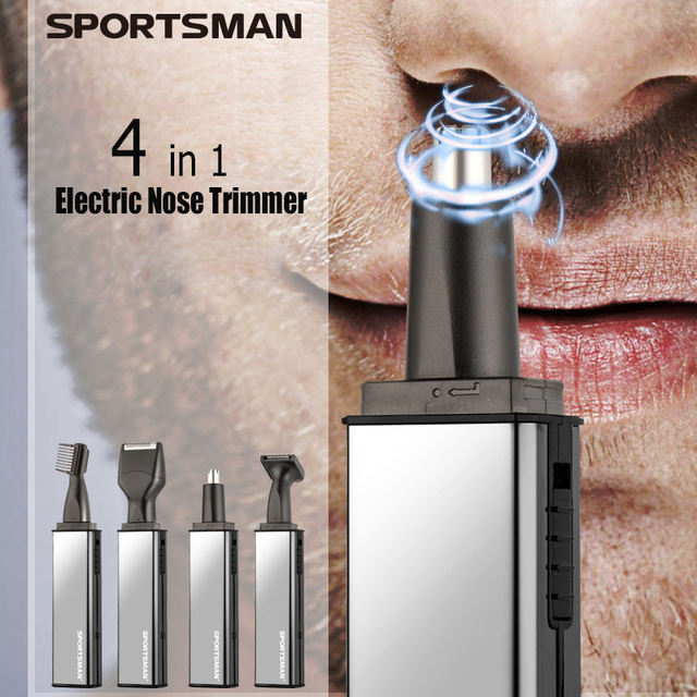 Sportsman 4 in 1 Electric Nose Hair Trimmer Rechargeable Nose Trimmer for Men Trimers Sideburns Hair Cutter Eyebrow Trimmer 1