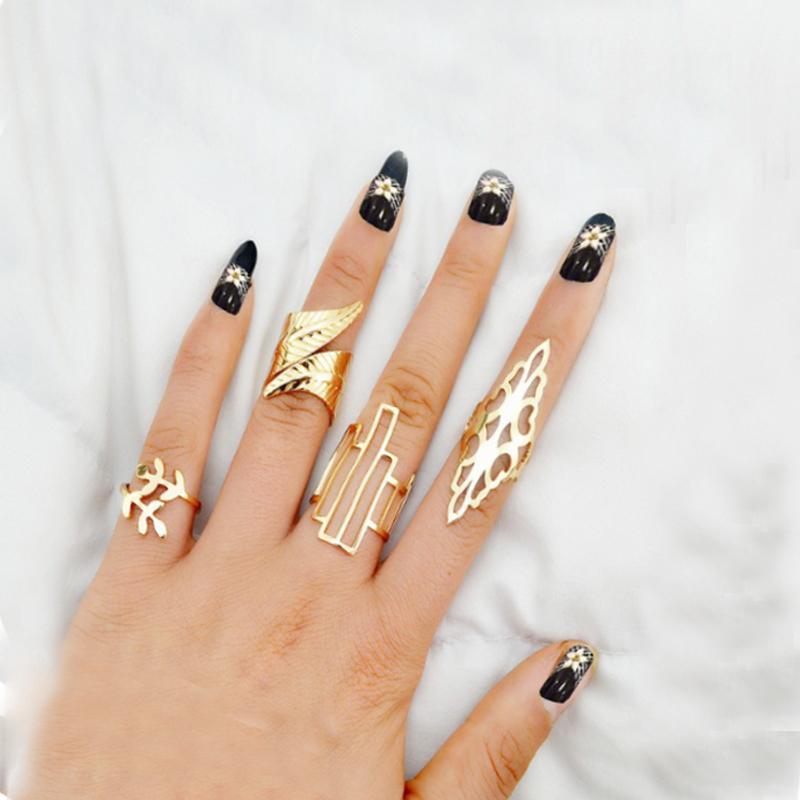New Fashion Geometric Leaf Rings Set Boho Hollow Flower Party